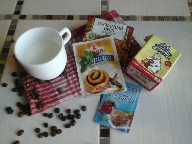 Ингредиенты для молочно-кофейного десерта